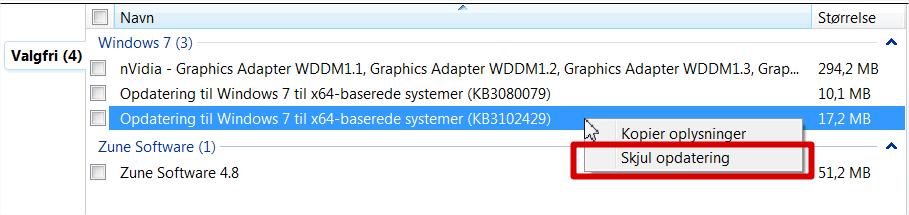 KB3102429-skjul opdatering